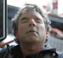 Production Designer Arwel Jones tries on the Sherlock face mask