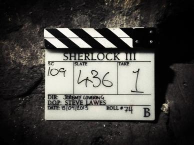 Clapboard from The Empty Hearse filming