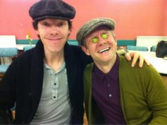 Martin and Ben having a grape time at the first script readthrough of Series Three