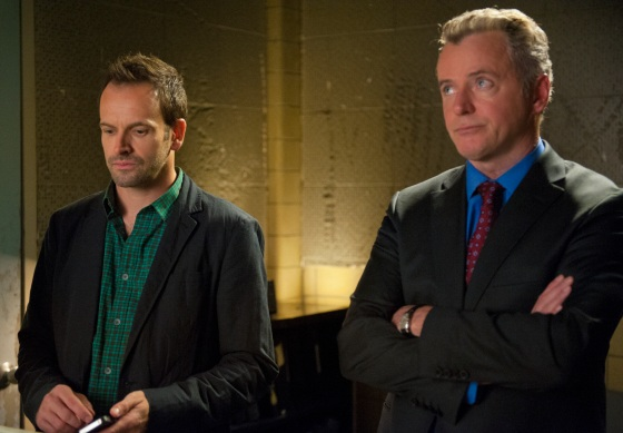 """The Long Fuse"" -- Sherlock (Jonny Lee Miller, left) discovers a crime that's been lying dormant for years and sets out to find the intended victim, hoping it will lead him to the perpetrator. Also pictured is Aidan Quinn (right) on ELEMENTARY, Thursday, Nov. 29 (10:00-11:00 PM, ET/PT) on the CBS Television Network. Photo JOJO WHILDEN CBS ©2012 CBS Broadcasting, Inc. All Rights Reserved"