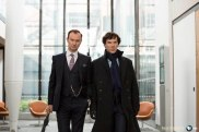 Sherlock, Season 4 premieres January 1, 2017 on MASTERPIECE onPBS. Picture shows: Mycroft Holmes (MARK GATISS) and Sherlock Holmes (BENEDICT CUMBERBATCH)